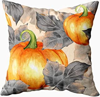 Shorping Kid Pillow Case, Zippered Covers Pillowcases 18X18Inch Throw Pillow Covers Orange Pumpkins Pattern Watercolor for Home Sofa Bedding