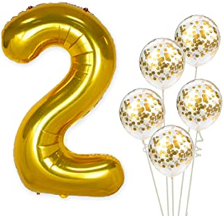 KatchOn Number 2 and Gold Confetti Balloons - Large, 40 Inch Foiil Gold Balloons | 5 Gold Confetti Balloons, 12 Inch | 2nd Birthday Party Decorations | Party Supplies for Anniversary Décor