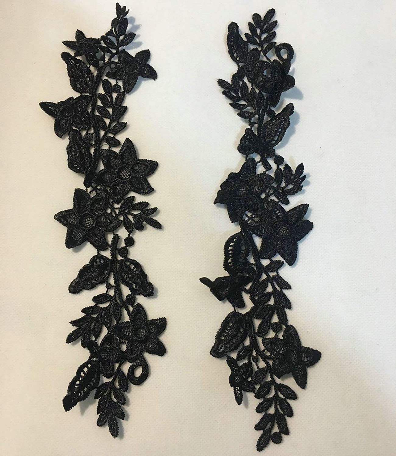 1 Pair Beautiful Black Flower Embroidery Patch Neckline Lace Applique Trims Collars Sewing DIY Crafts (Style C Black)