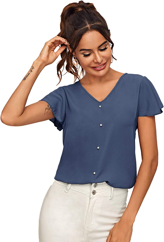 SweatyRocks Women's Casual V Neck Chiffon Ruffle Short Sleeve Blouse Shirt