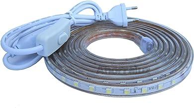 Tira Led de 220v 5050 IMPERMEABLE Blanco Frío o Cálido Waterproof IP67 strip (Blanco Cálido, 2 Metros + Enchufe)