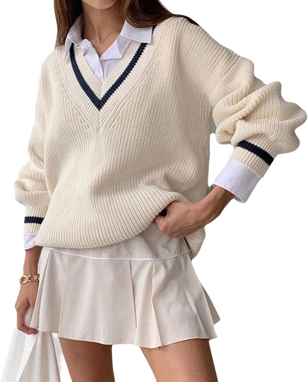 Women Argyle Plaid Pullover Sweater Long Sleeve Preppy England Style Knitwear Top Y2K E-Girl Sweater