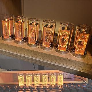 擬似グロー チューブ時計、LED 照明デジタル時計、電源オフ メモリ/9 色モード/1600 万色調整/USB パワー ナイト ライト 友人への装飾品,6 monochrome