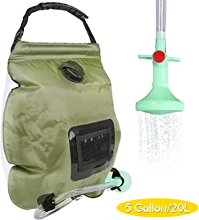 Solar Shower Bag, 5 Gallons/20L Portable Camping Shower Bag withOn/Off Switchable Shower Head for Camping Traveling Hiking Beach Swimming