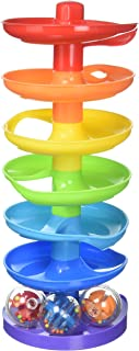 KidSource Super Spiral Tower - Ball Drop and Roll Activity Toy - Seven Colorful Ramps and Three Rattling Balls Promote Fin...