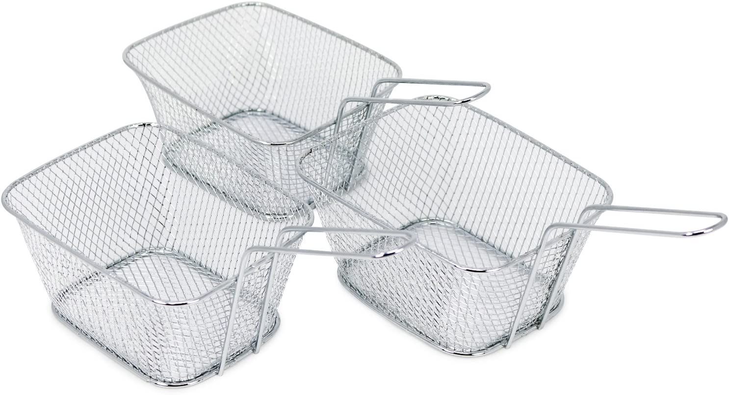 com-four® 3x Mini cestas para servir papas fritas y otros bocadillos, cesta para servir, 14 x 11 x 7 cm (Cesta - 03 piezas)