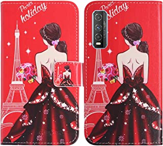TienJueShi Dream Girl Fashion Stand TPU Silicone Book Stand Flip PU Leather Protector Phone Case For Vivo Y70t 6.53 inch C...