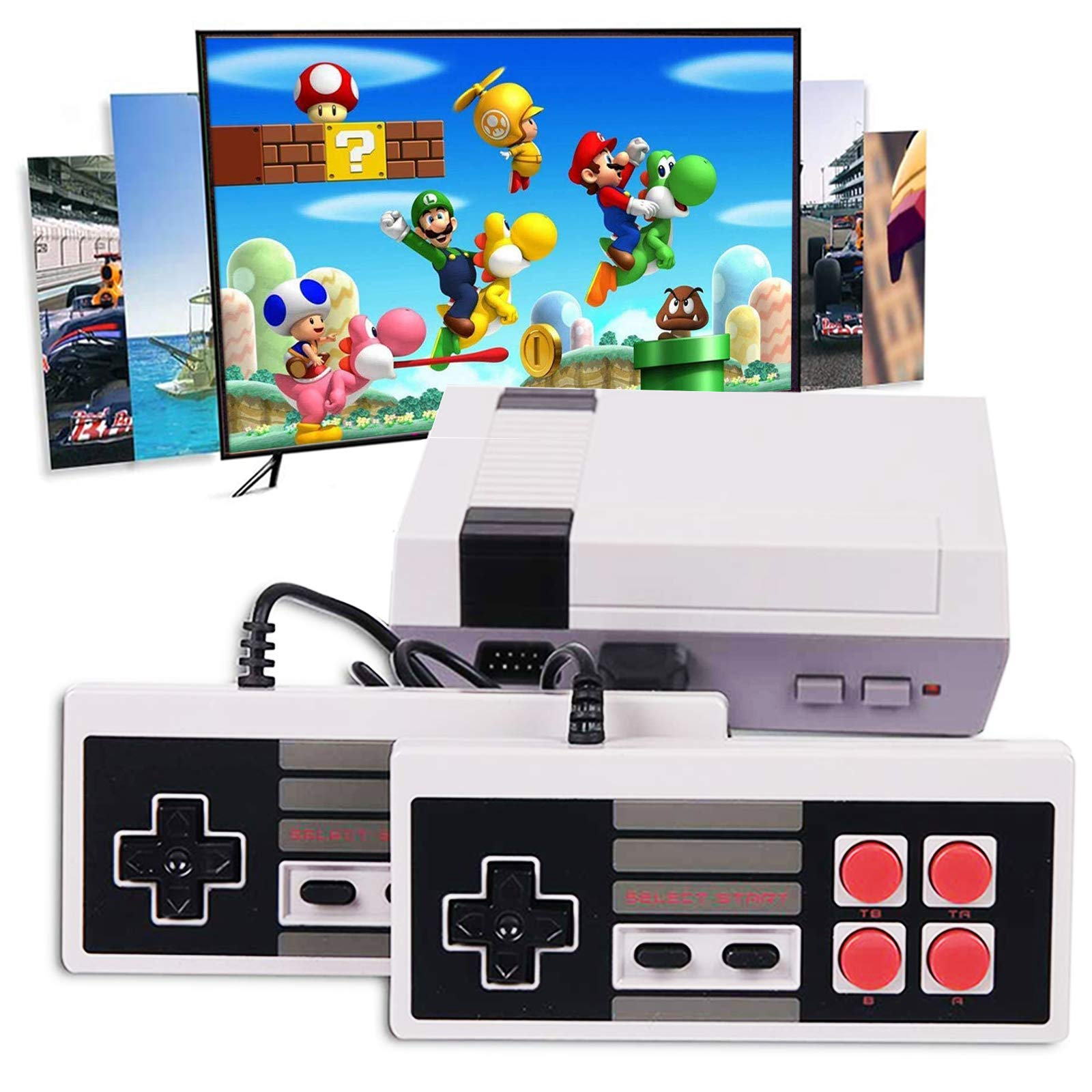 Classic Handheld Game Console, Retro Gaming Console Built-in 600 HD Game in TF Card and Classic NES Dual Gamepad Controller HDMI Output Gaming Player