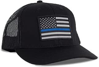 Thin Blue Line American Flag Flexfit Hat - Snapback Mesh Trucker