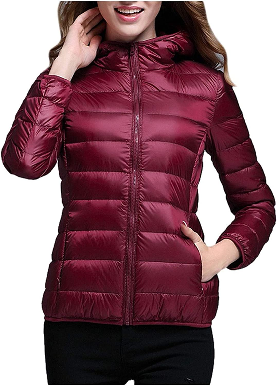 HGWXX7 Womens Overcoat Zip Up Hooded Lightweight Down Jacket Plus Size Long Sleeve Winter Coats with Pocket Wine