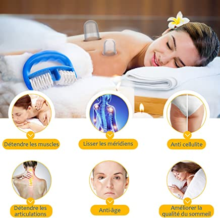 Silicone Cupping Set, Y.F.M Anti Cellulite Anti-Aging Body Face Cups Handheld Massage Roller, Cupping Therapy Sets for Face, Eyes, Neck