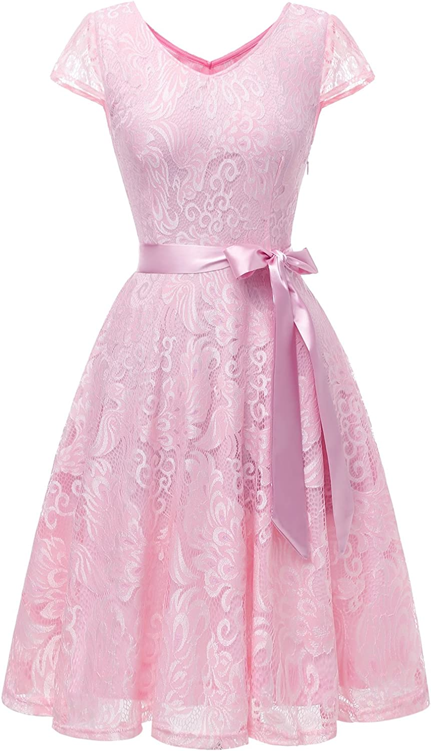 Bridesmay Women's Short Bridesmaid Dresses Floral Lace Dress with Cap Sleeve