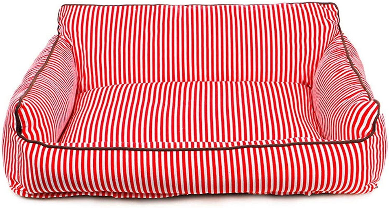 Dog Bed Cat Bed Large Dog, Medium Dog, Washable Kennel Four Seasons General Teddy golden Hair Large Dog Mat Comfortable Warm Kennel Pet Bed (color   Red, Size   S)
