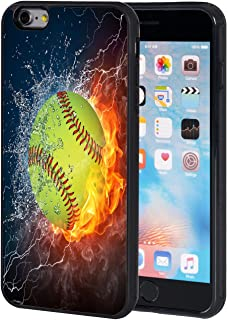 iPhone 6 Plus Case,iPhone 6S Plus Case,AIRWEE Slim Anti-Scratch Shockproof Silicone TPU Back Protective Cover Case for iPhone 6 Plus/6s Plus,Flaming Softball Fire and Water