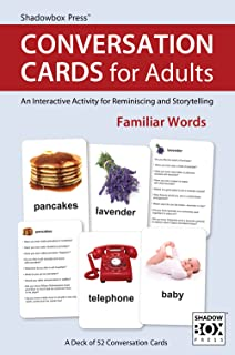 Conversation Cards for Adults, Familiar Words - Reminiscence Activity for Alzheimer's / Dementia / Memory Loss Patients and Caregivers