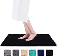 Smiry Luxury Chenille Bath Rug, Extra Soft and Absorbent Shaggy Bathroom Mat Rugs, Machine Washable, Non-Slip Plush Carpet Runner for Tub, Shower, and Bath Room (16'' x 24'', Black)