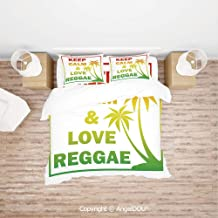 PUTIEN 4 Pieces (1 Duvet Cover +1 Sheet+ 2 Pillow Shams) Home Bedding Sets Duvet Cover Sets,Keep Calm and Love Reggae Quote in Ombre Rainbow Colors Music Themed Decorative,Soft Microfiber Duvet Cover