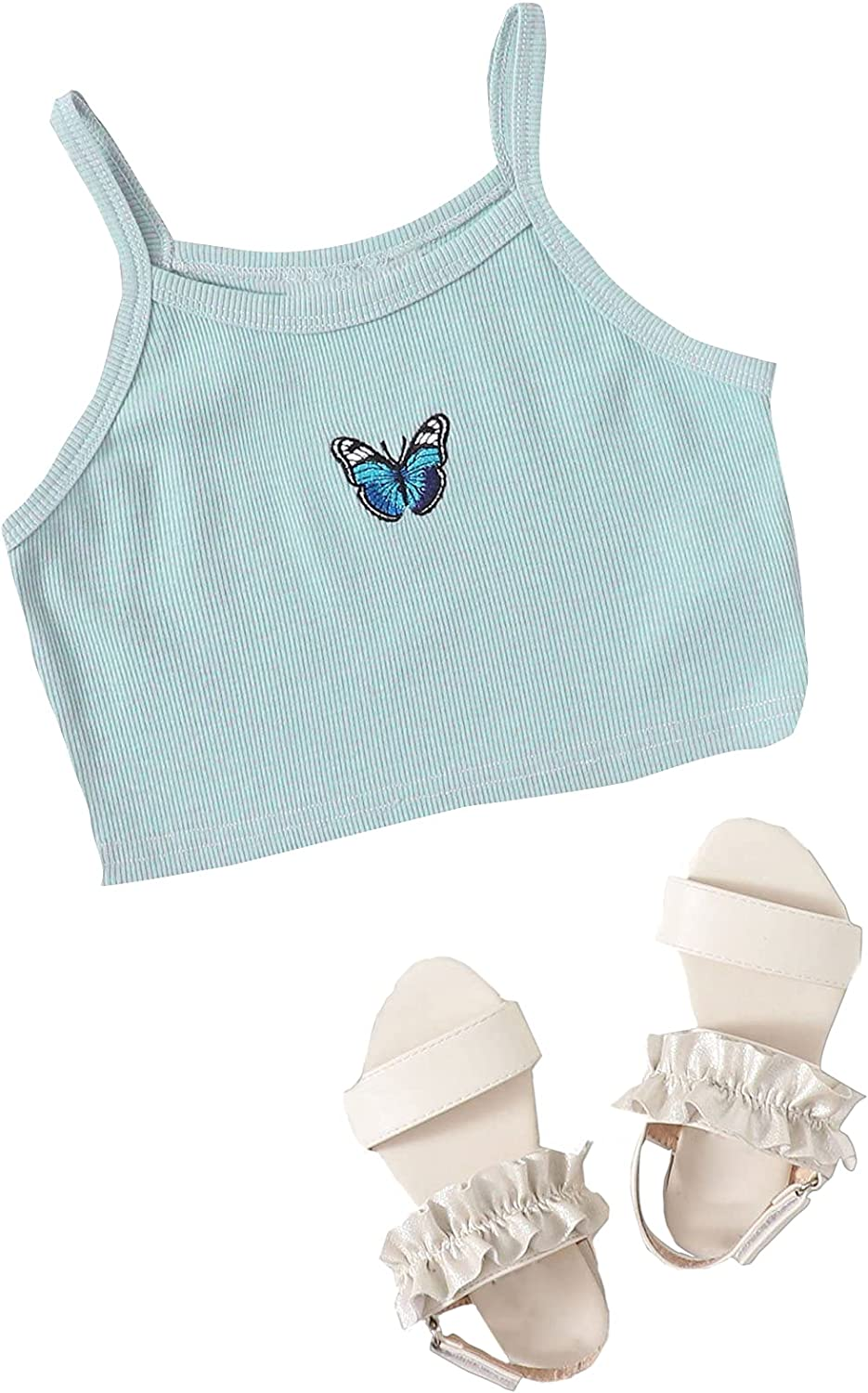 Romwe Girl's Summer Clothes Butterfly Pattern Crop Tank Tops