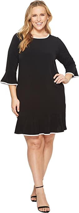 Plus Size Solid Flounce Dress