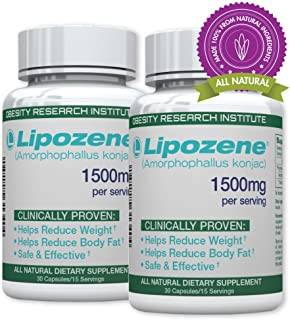 Lipozene Green Diet Pills - All Natural Weight Loss Supplement - Appetite Suppressant and Control - Two Bottles 60 Veggie Capsules - No Stimulants, No Jitters