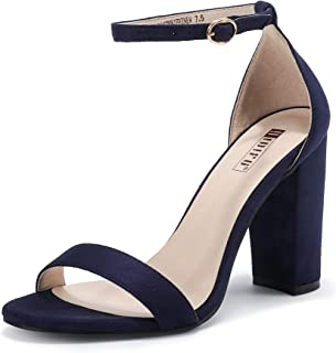 New Women's Heeled Sandals Open Toe Ankle Strap with 4 inch Block Chunky Heel Wedding Dress Pump Shoes - HALF SIZE LARGER