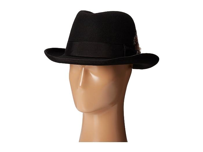 Stacy Adams  Homburg Wool Felt Hat with Grosgrain Band (Black) Caps