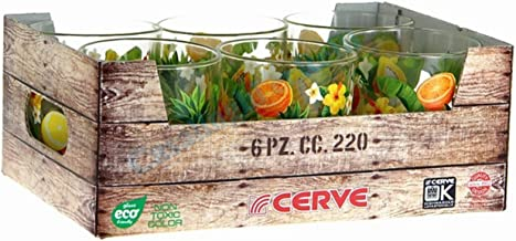 Set da 6 Bicchiere acqua Cerve 22cl con decoro frutta in cassetta idea regalo