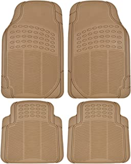 BDK MT654PLUS Beige Heavy Duty 4pc Front & Rear Rubber Floor Mats for Car SUV Van & Truck-All Weather Protection Universal Fit