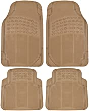BDK MT654PLUS Heavy Duty 4pc Front & Rear Rubber Floor Mats for Car SUV Van & Truck - All Weather Protection Universal Fit (Beige)