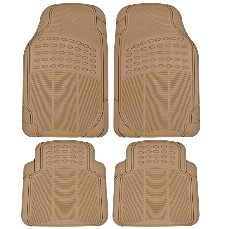 BDK MT654PLUS Heavy Duty 4pc Front & Rear Rubber Floor Mats for Car SUV Van & Truck-All Weather Protection Universal Fit (Beige)