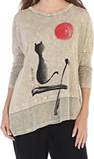 Jess & Jane Women's Mineral Washed Cotton Dolman Sleeve Cotton Tunic
