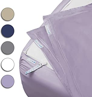 """QuickZip Fitted Sheet - Includes 1 Fitted Sheet Base & 2 Zip-On Sheets - Easy to Change, Fold & Wash Twin Sheet - Percale 200 TC Cotton Fitted Sheets – 10.5"""" Deep Pockets Twin Size Sheets – Lavender"""