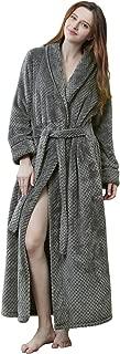 Womens Robe Long Fleece Bathrobe Warm Waist Belt Super Soft Spa Plush Full Length Bath Robe with Shawl Collar