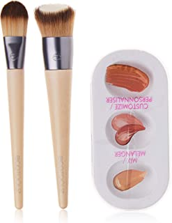 EcoTools Custom Match Makeup Brushes, For Liquid Foundation, With Mix Palette, Set of 2