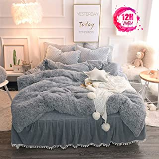 MUKKA 3PC Plush Shaggy Duvet Cover Queen Set Classic Grey (1 Faux Fur/Velvet Duvet Cover + 2 Pompoms Fringe Pillow Shams) Solid, Zipper Closure (Queen, Classic Grey)