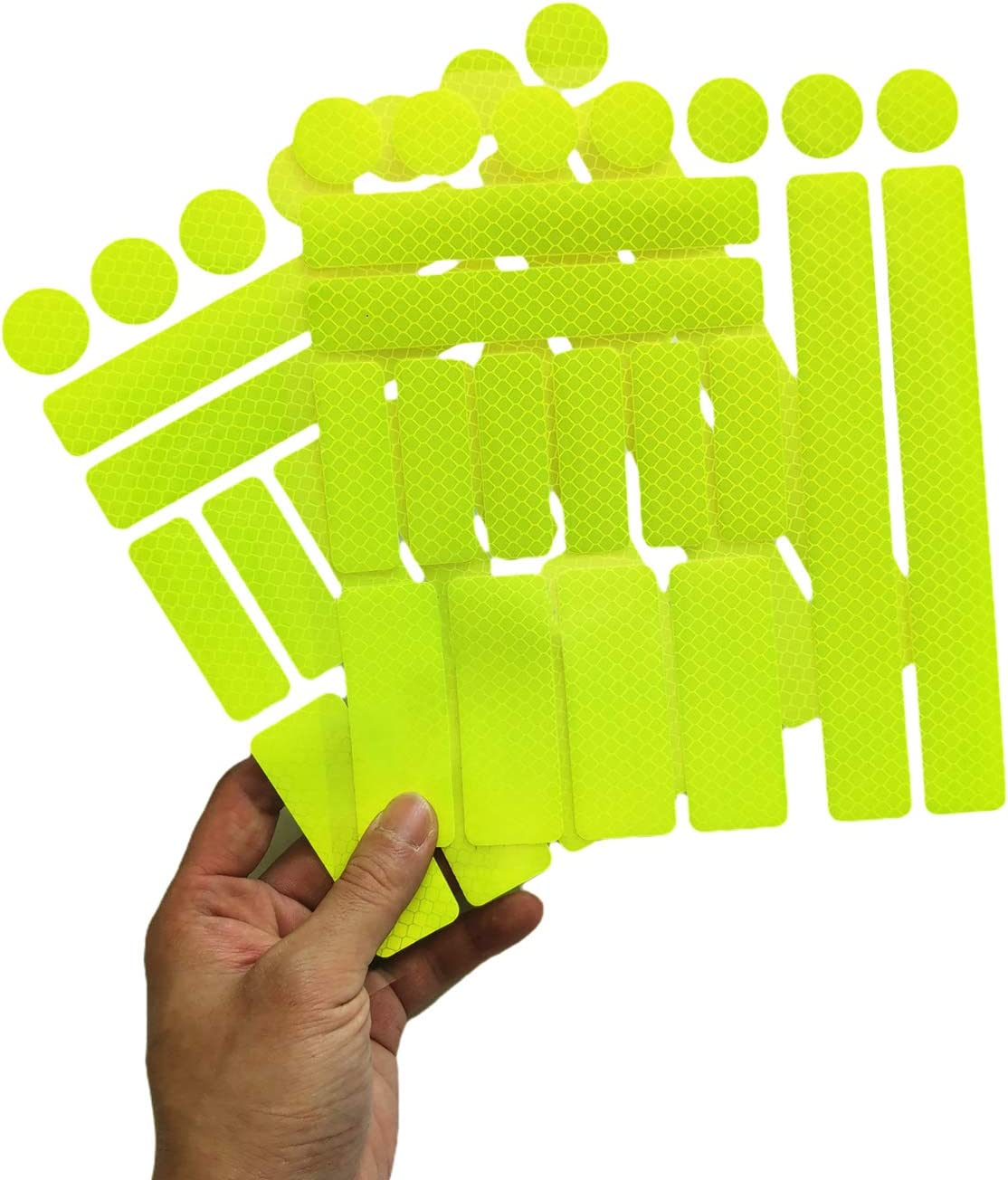 Waterproof Adhesive Reflective Decals yellow-21PCS Cars Night Safety Stickers for Helmet Motorbike Wheelchairs Hard Hat Reflective Stickers for Bicycle Bike Reflectors Hard Surfaces