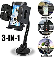 Universal 3-in-1 Car Cell Phone Holder, Windshield Long Arm Phone Holder, Dashboard, Air Vent, Stand with Photo Frame for iPhone X/8/7/7P/6s/6P/5S,Galaxy S5/S6/S7/S8/S9,Google,LG,Huawei