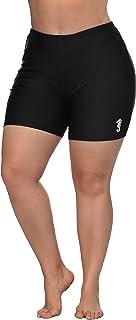 ATTRACO Womens Plus Size Board Short High Waisted Solid Stretch Boyleg Swim Shorts