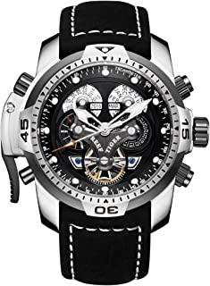 Reef Tiger Mens Sport Watches Complicated Black Dial Steel Case Automatic Watch Military Watches RGA3503