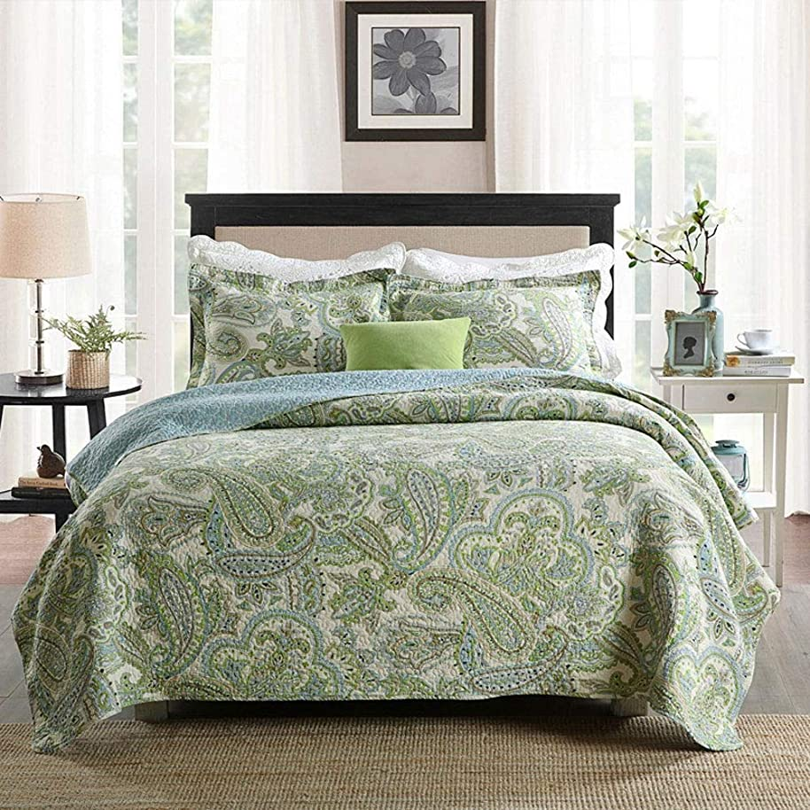 Swag Pads Queen Size 3-Piece 100-Percent Cotton Bedspread Quilt Set with Green Paisley Pattern