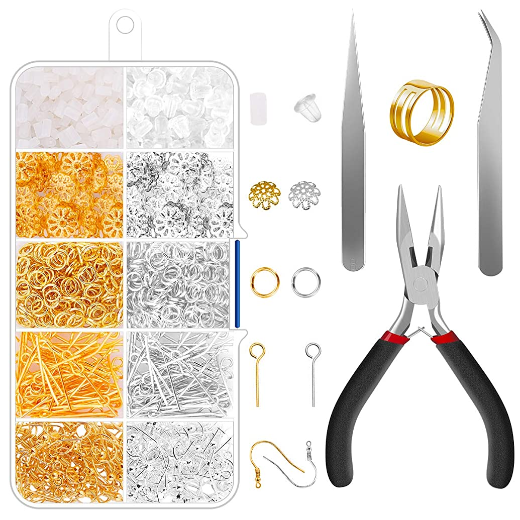 Jewelry Making Supplies - Jewelry Findings Kit Supplies Earrings Findings and Pliers Tools for Girl and Adults DIY Making.