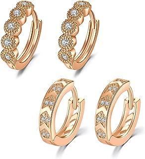 JFORYOU 2-3 Pair Hoop Earrings for Women Girls 18G Stainless Steel Cartilage Earring Huggie Hoop Earrings Cubic Zirconia and Twist Design