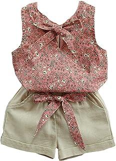 Lankey Baby Clothing Kids Summer Clothes Girls Flower Printing Vest + Pure Color Pants Children Clothing Set