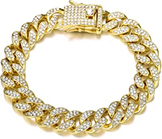 سوار كن أنيقًا كوبي 8.5 بوصة بلينغ زركونيا كوبي ميامي لينك الإسورة مجوهرات للرجال النساء الهيب هوب أساور مجوهرات