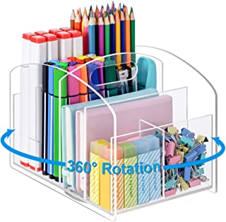 Marbrasse Acrylic Desk Organizer,360-degree Rotating Clear Pen Holder for Desk with 6 Compartments, Desktop Stationery Org...