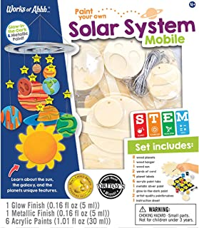 MasterPieces Works of Ahhh Real Wood Large Acrylic Paint & Craft Kit, Solar System Mobile, Mom's Choice Award & Dr. Toy's 100 Best Winner, for Ages 4+