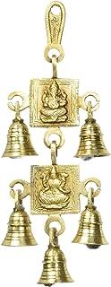 5 Bells Brass Hanging Hindu God Ganesha and Goddess Laxmi Ji Statue Engraved for Luck Home Temple Use