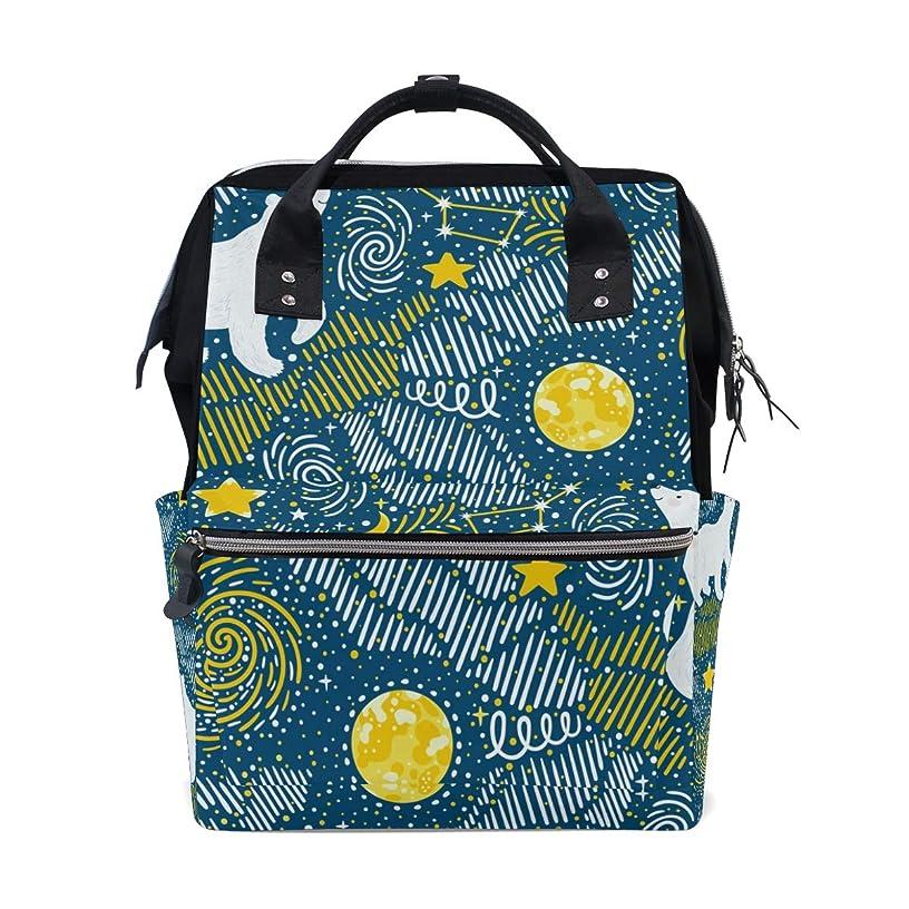 Polar Bear Stars Moon Typhoon School Backpack Large Capacity Mummy Bags Laptop Handbag Casual Travel Rucksack Satchel For Women Men Adult Teen Children