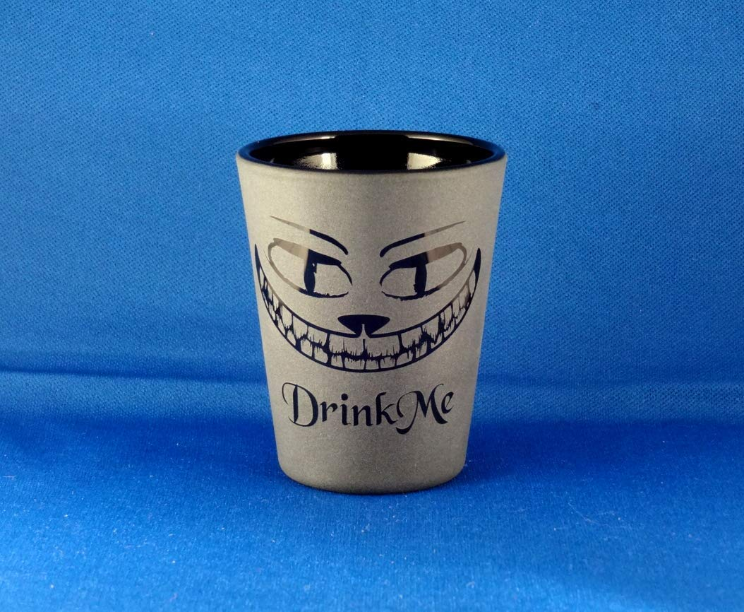 Cheshire Grin Large special price !! Etched Shot Glass Blackout Blac Time sale Glassware Unique