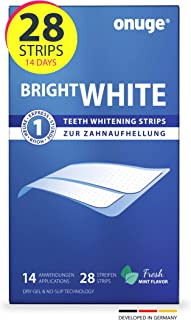 Onuge Bright White Teeth Whitening Strips – bleekstrips voor tandbleken – zonder peroxide – 28 strips voor 14 dagen